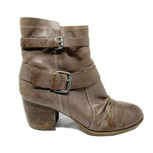 NAYA Virtue Leather Slouchy Ankle Buckle Boots